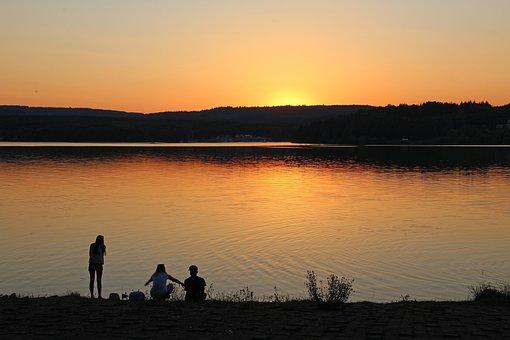 Sunset, Abendstimmung, Lake, Sky, Nature, Evening Sky