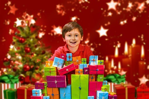 Christmas, Child Boy, Gifts, Joy, Smile, Packages, Star