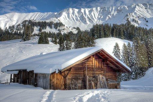 Mountains, Hut, S, Alpine, Alm, Alm Hut, Winter