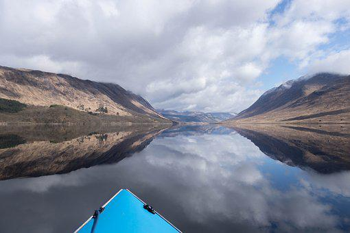 Water, Boat, Loch, Clouds, Sky, Travel, Summer, Fishing
