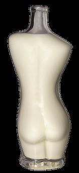 Bottle, Glass Bottle, Milk Bottle, Woman, Torso, Female