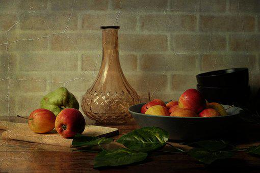 Food, Still Life, Table, Fruit, Wood, Rustic, Wooden