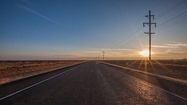 Sunrise, Highway, Road, Roadway, Empty, Sun, Journey