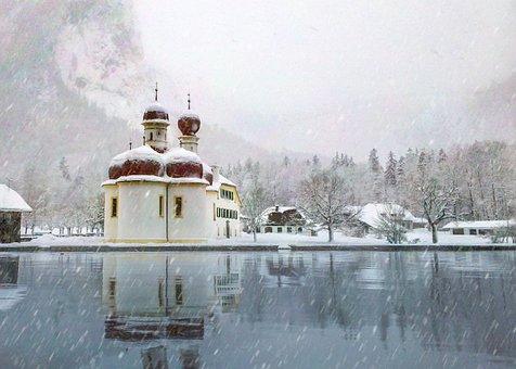Lake, Winter, Snow, Bartholomä St, Königssee