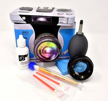 Camera, Sensor Cleaning, Led Magnifying Glass, Brush
