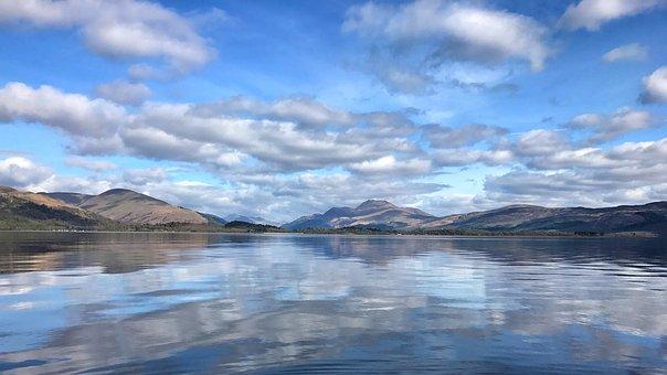Loch Lomond, Ben Lomond, Reflection, Clouds, Blue, Sky
