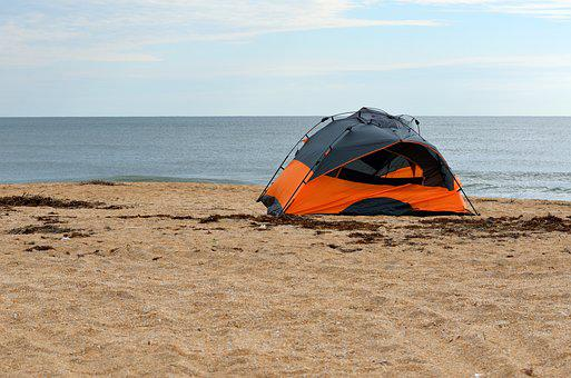 Tent Camping, Beach, Leisure, Ocean, Surf, Vacation