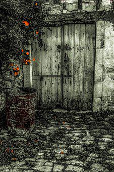 Door, Old, Wooden, Aged, Weathered, Barrel, Rusty