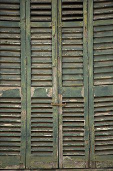 Wood-fibre Boards, Wood, Old, Door, Window, Green