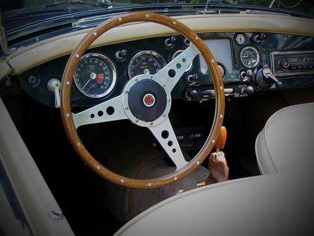 Sports Steering Wheel, Vintage, Sports Car, Automotive