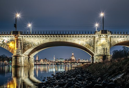 Bridge, Dresden, Old Town, Elbe, River, Building, City