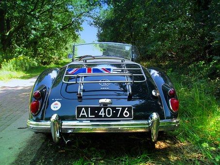 Mg, Mga, Cabriolet, Vintage, Luggage Rack, Car Classic