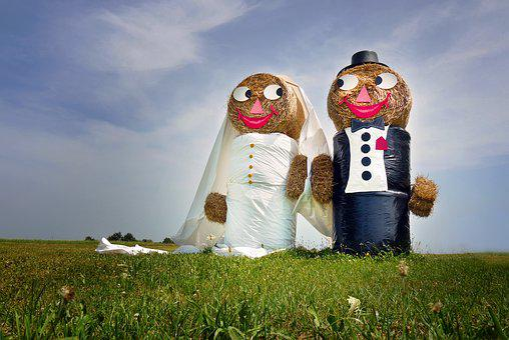 Wedding, Pair, Straw Dolls, Love, Marry