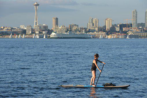 Paddle Board, Water, Puget Sound, Seattle, Sport