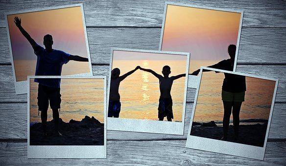 Picture Frame, Family, Sunset, Back Light, Photos