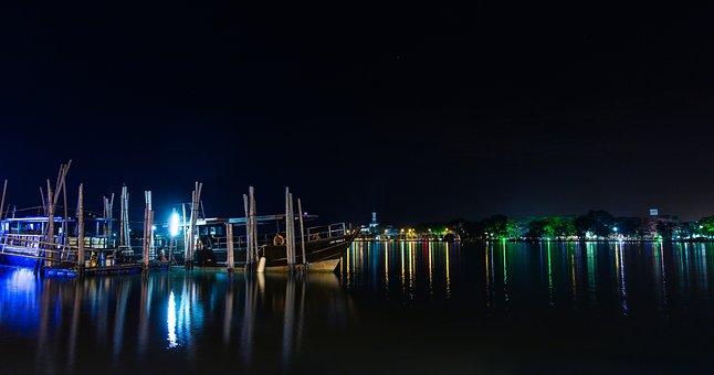 Sky, City, Panoramic, Reflection, Light, River, Boat