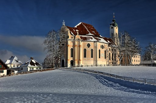 Winter, Christmas, Advent, Pilgrimage Church Of Wies
