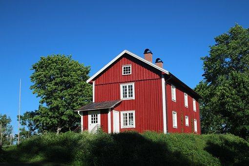 Sweden, Blue Sky, Summer House