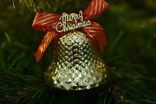 Christmas Bell, Merry Christmas, Ribbon, Xmas, Glow