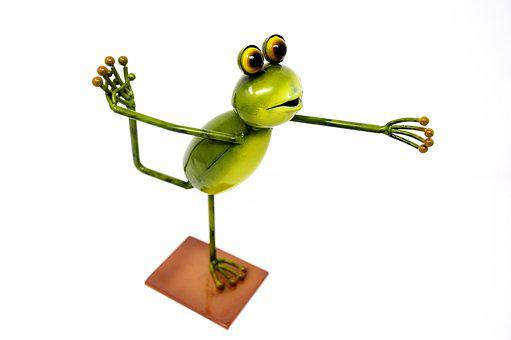 Frog, Metal, Figure, Gymnastics, Funny, Cute, Deco