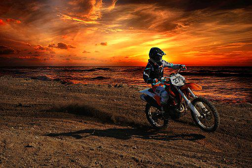 Motocross, Dirt Bike, Ktm, Rider, Sunset, Ocean, Action