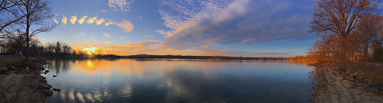 Lake, Sunset, Nature, Panoramic, Landscape, Sky