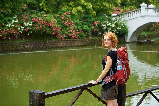 Tourist, Backpack, Navigator, Girl, Women's, Beautiful