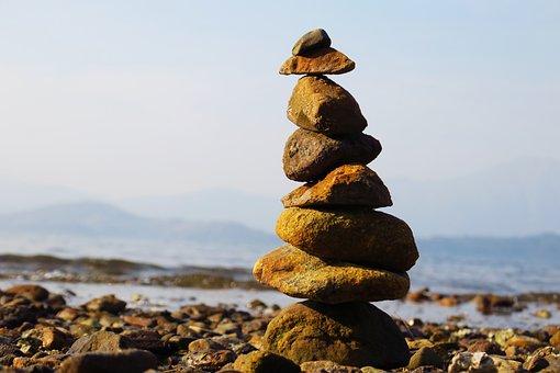 Rock, Nature, Sea, Balance, Beach, Waters, Stone