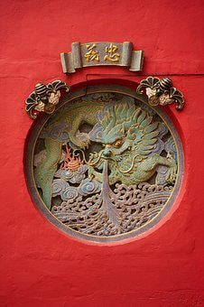 Symbol, Antique, Old, Red, Dragon, Chinese, Temple