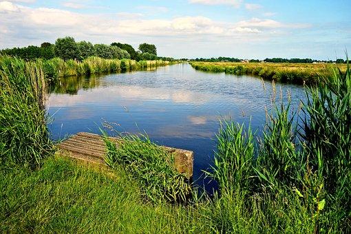 Waterway, Banks, Jetty, Rushes, Vegetation, Horizon