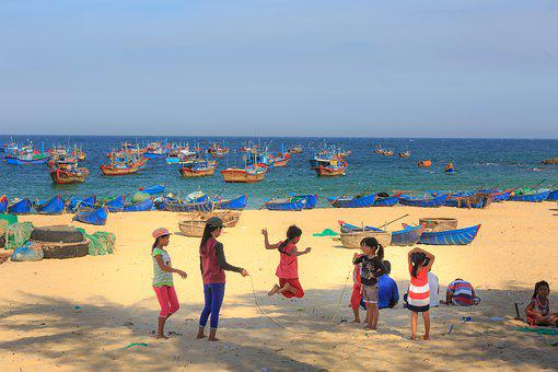 Village, The Beach, Vietnam, The Sea, Action, Rope