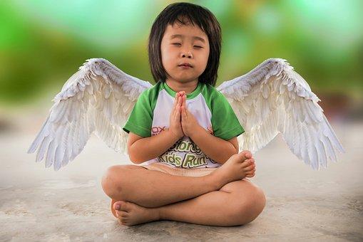 Little Girl, Freedom, Angel, Yoga, Praying, People