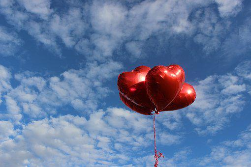 Sky, Outdoors, Heart, Balloons, Nature, Marriage