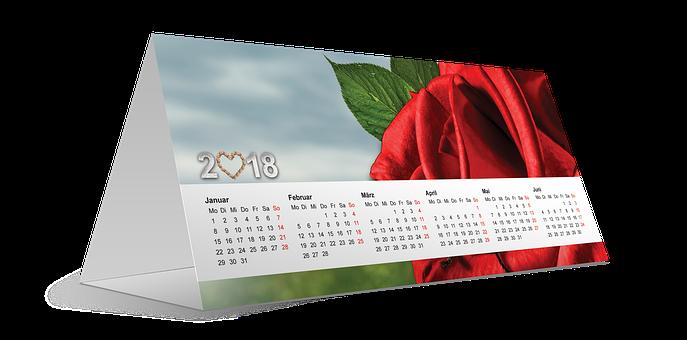 Calendar, 2018, New Year, Rose, Heart, New Year's Day