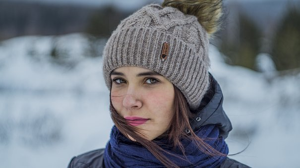 Winter, Coldly, Snow, Outdoors, Scarf, Portrait, Girl