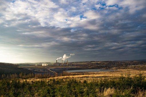 Factory, Landscape, Lake, Power Station, Chimneys