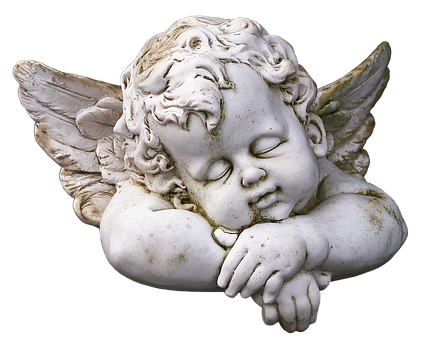 Figure, Angel, Cherub, Sleeping, Ceramic, Weathered