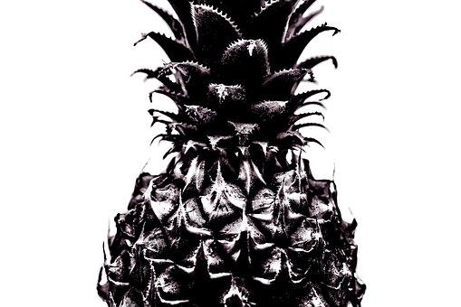 Pineapple, Isolated, Bw, Fresh, Fruit, White