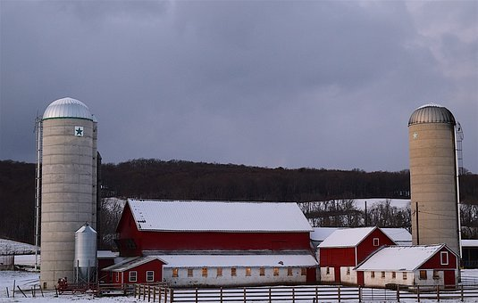 Snow, Farm, Silo, Barn, Fence, Winter Season, Rural