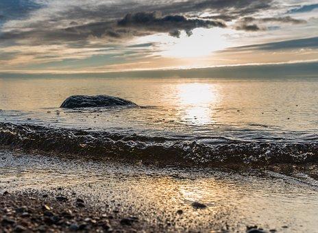 Water, Coast, Beach, Landscape, Stone, Sky, Clouds