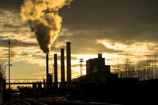 Factory, Power Station, Yard, Clouds, Chimneys, Energy