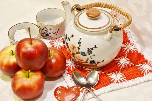 Tee, Cup, Pot, Apple, Drink, Table, Food, Hot