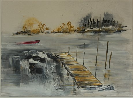 Acrylbild, Own Production, Painting, Waters, Winter