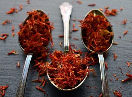 False Saffron, Cook, Spice, Food, Spoon, Red