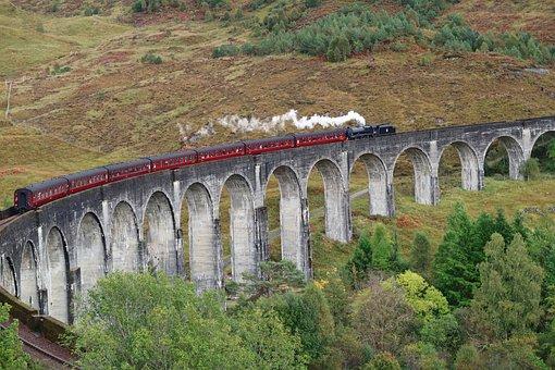 Travel, Nature, Landscape, Stone, Bridge, Train, Arch