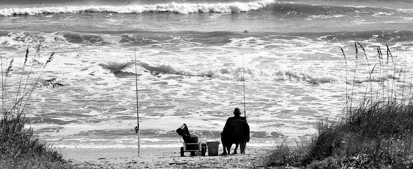 Surf Fisherman, Monochrome, Water, Recreation, Ocean