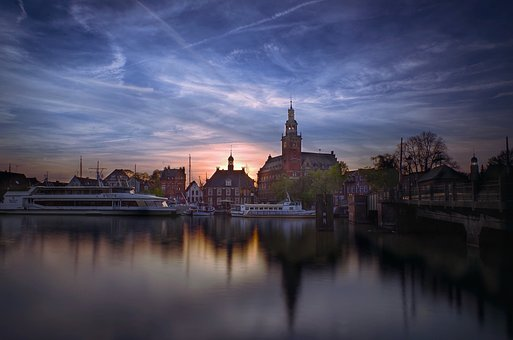 Architecture, Reflection, River, Waters, Dusk, Port