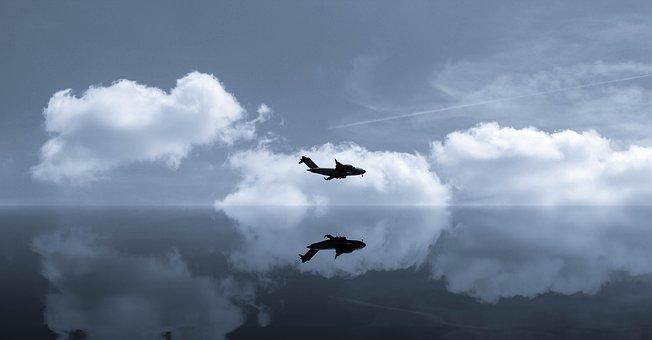 Sky, Clouds, Flight, Aircraft, Military Aircraft, Art