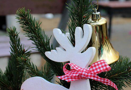 Reed, Decoration, Christmas, Winter, Reindeer, Bow
