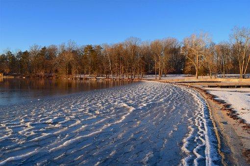 Lake, Frozen, Trees, Shore, Beach, Landscape, Nature